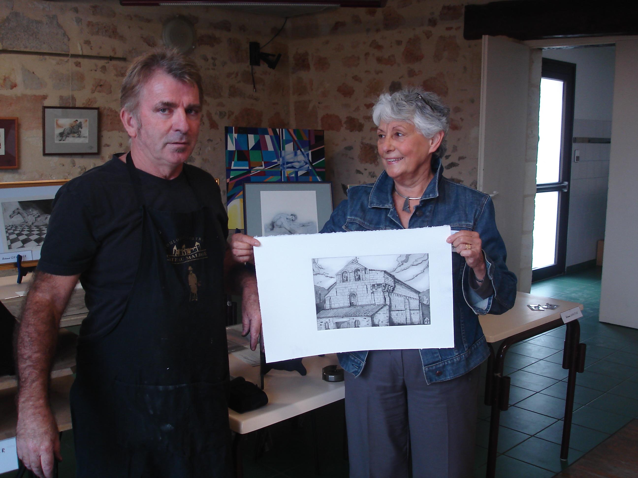 Le 1er tirage de la gravure de l'église de Marcenais